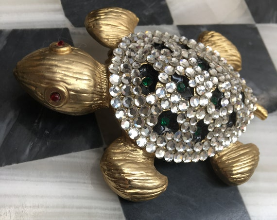 Huge Golden Rhinestone Bedazzled Turtle Pin, 80s/ 90s Glamour Jewelry Vintage Brooch, Ladies that Lunch Bling
