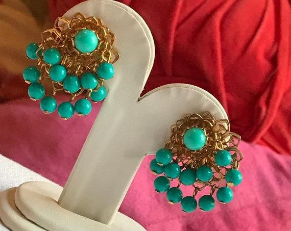 AQUA BLUE WATERFALL Beaded GoldTone FIligree Vintage Clip On Earrings