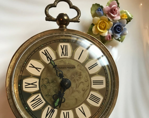 Romantic Antique Vintage  PHINNEY WALKER West Germany Ornate Gold Tone Wind Up  Alarm Clock Good Travel Clock, Not so timeless classic : b