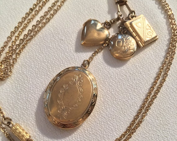 Vintage 1928 Goldtone Locket Charm Necklace, Perfect Mothers Day Gift