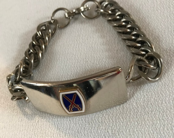 Mid Century Vintage Mens Club Silvertone Chain ID Bracelet with Sword Emblem & Cool Clasp