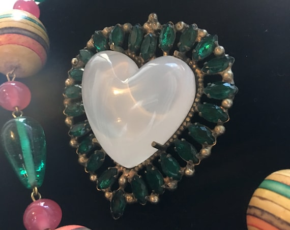 Rare Signed Opalescent Puffy Heart & Emerald Rhinestone Unisex Lapel Pin, Glamour Wedding Commitment Jewelry Gift of Love
