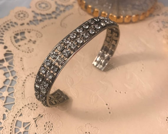 Vintage Rhinestone Cuff Bracelet, Simplicity Style and Glamour, Bling
