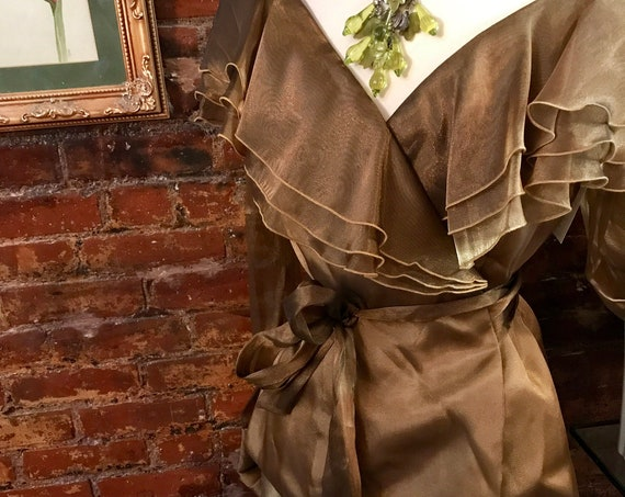 Beautiful Sheer Bronze Chiffon Ruffle Peplum Vintage Evening Blouse, cocktail party attire, Hampton Nights