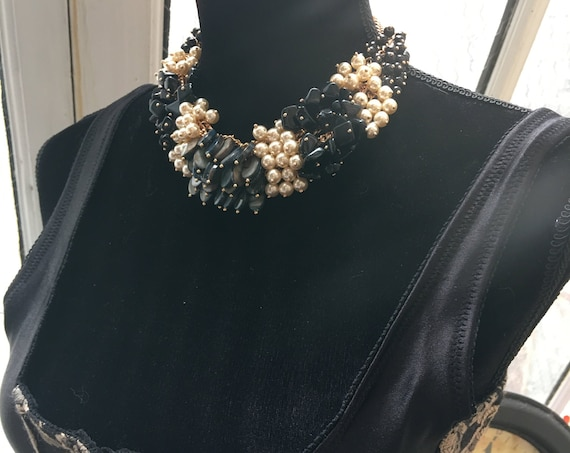 90s Glam Chunky Cluster Bead Statement Necklace, Multi Strand Faux Pearls Black Beads & Blue Shell Big Bold Bling Statement Choker