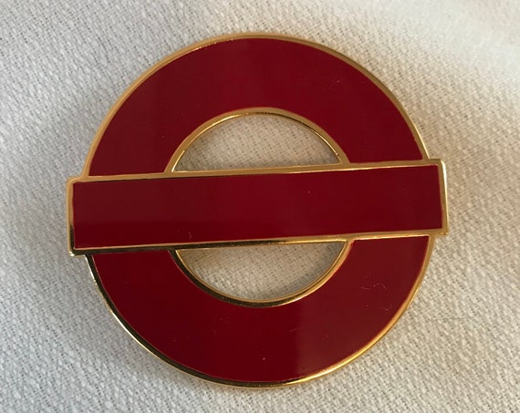 Red Monet Art Deco Pin, Modernist Vintage Brooch, Red Enamel on Goldtone Now Trending Unisex Lapel Pin, Tres Chic