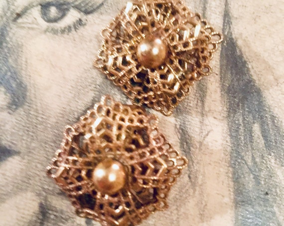 Mid Century Gothic Goldtone  Filigree Maltese Floral Open Work Clip Earrings