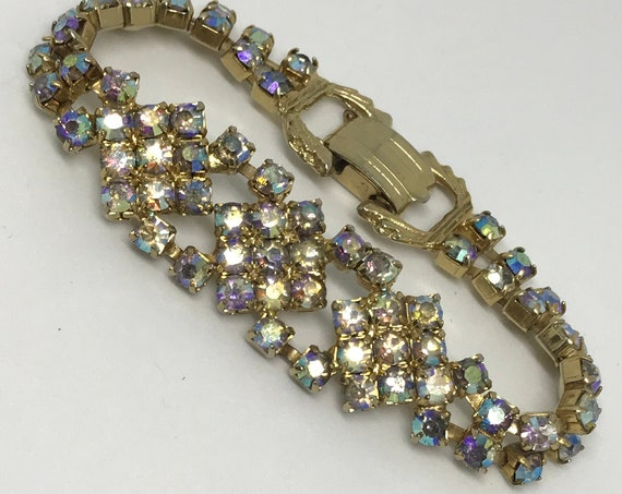 Dazzling AB Rhinestone Bracelet with An Exquisite Art Deco Clasp, 50s Special Occassion Jewelry
