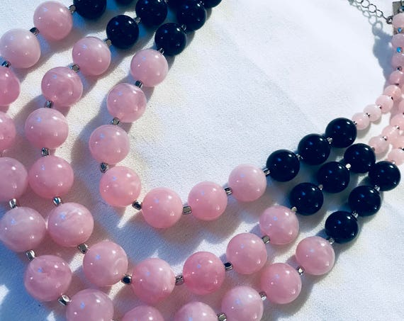 Preppy Pale Pink & Dark Navy Blue Multi Stranded Beaded Necklace, 90s costume jewelry ,Spring Spring Summer Palm Beachy Spring Break Colors