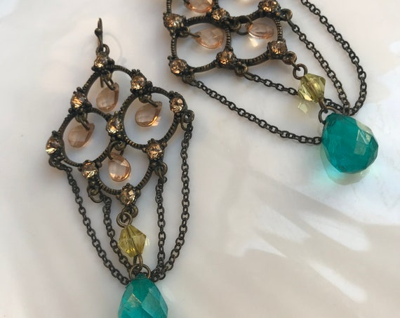 Victorian Revival Aqua blue Teardrops & ice Lucite Gem Bronze Lattice Chandelier Earrings w/ Draping Chains, something blue for Wedding Prom