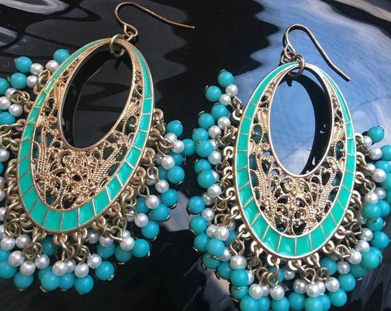 BIG Vintage Boho Gypsy Tribal Turquoise Enamel & Goldtone Filigree Beaded Chandelier Dangle Hoop Statement Earrings