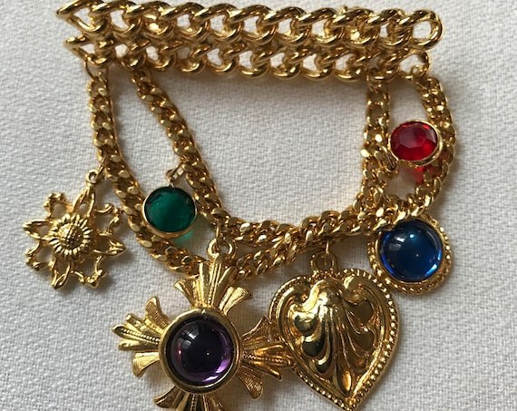 Awesome 80s Way Cool Goldtone Chain Award Charm Medal Miltary Style Regal Brooch with Gemtone Cabochons