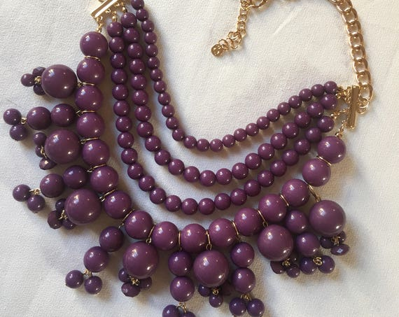 Trending Vintage Purple Necklace, Retro Grape Plum Purple  Plastic Beaded Bib Choker Statement Necklace