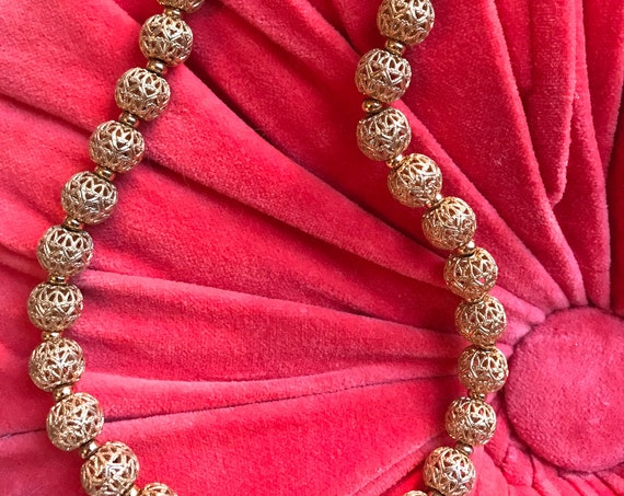 Fantastic Mid Century Monet Goldtone  Open Work Filigree Beaded Choker Necklace