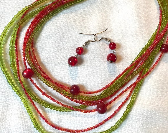Colorful Dark Lime & Red Glass Beaded Funky Boho Ethnic Necklace and Earring Set