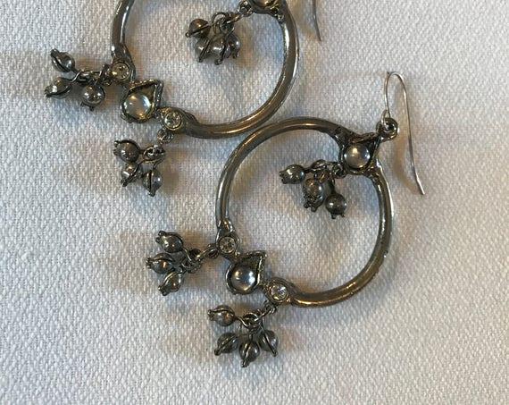 Beautiful Silvertone & Crystal Hoops, Chandelier Statement Earrings