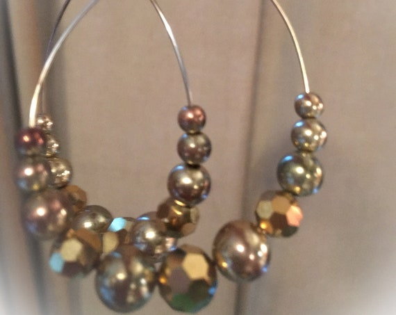 Vintage Large Golden faceted Beaded Wire Disco Hoop Statement Earrings