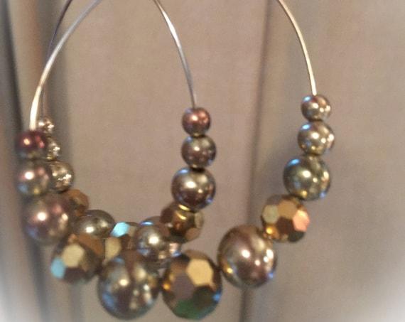 Vintage Large Golden faceted Beaded Wire Disco Hoop Earrings