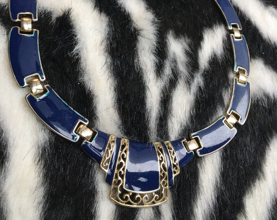 Vintage Art Deco Revival Blue Enamel and Goldtone Statement Necklace, Awesome 80s Glamour Jewelry Choker
