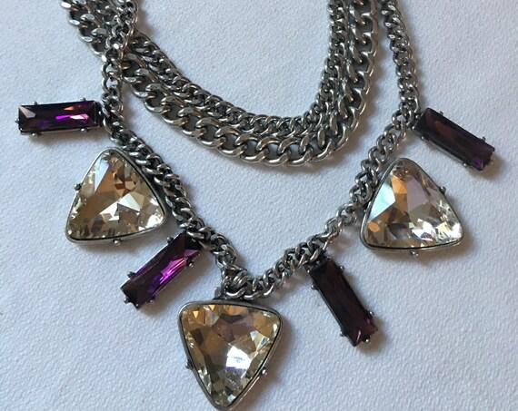 Punky Purple & Ice Rhinestone Edgy Triple Chain Choker, Glam Rock Collar, Glamour POP Star Statement Necklace