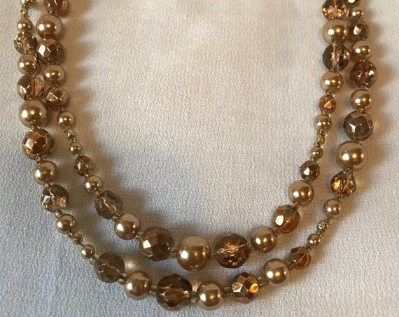 Prom Perfect Golden Crystal and Pearl Beaded Double Stranded Movie Star Glamour Jewelry Classic Jewelry, Debutante Preppy Necklace
