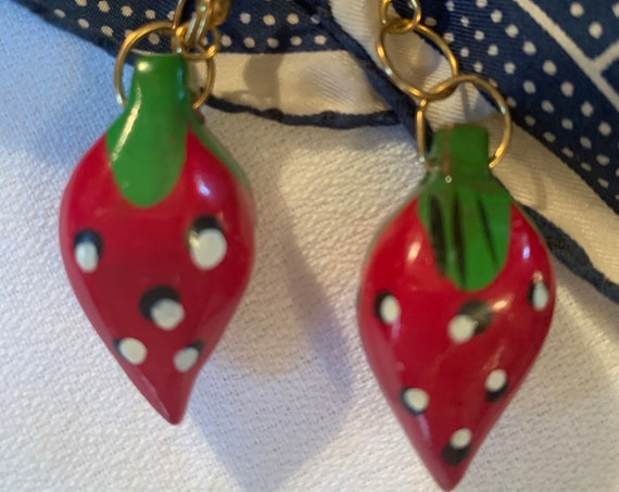 Vintage Hand Painted Red Strawberry Wooden Dangles , Tooty Fruity  Statement Earrings made in The Philippines
