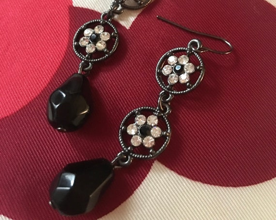 Openwork Gunmetal Earrings With Ice Rhinestone Flowers & Black Teardrop Art Glass Bead floral Dangles