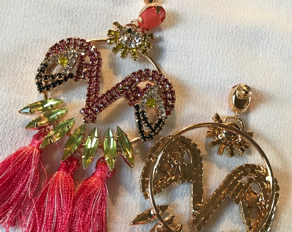 Big 90s Glam Pink Flamingo Rhinestone Statement Earrings with tassels, fabulously fun!
