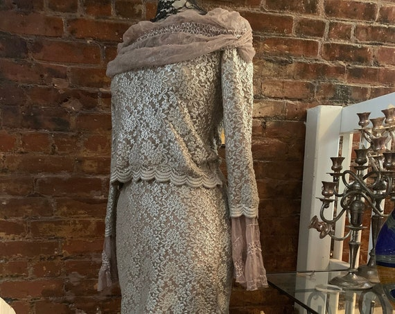 Dark Taupe  Lace Top and Maxi Shirt Set, Sexy Victorian Revival Semi to Formal Attire, Wedding Dress or Anniversary or Fancy Date Night