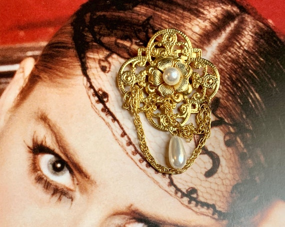 Vintage 80s Glam Ornate Golden Dangle Brooch with floral motif & Faux Pearls, Trending Glamour Jewelry Unisex Lapel Pin