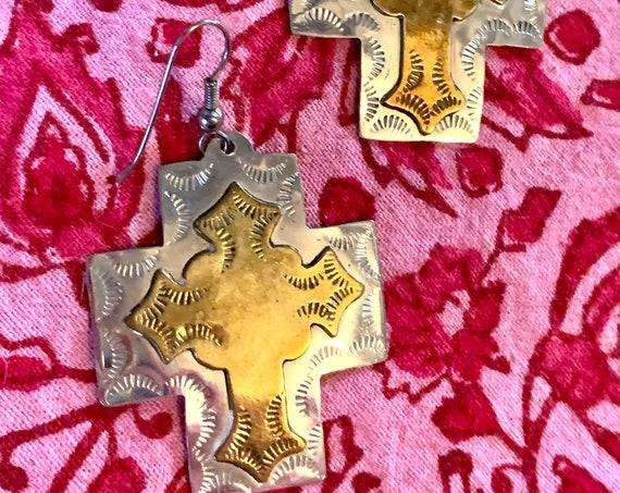 Boho Cross Dangles in Two Tone Tooled Brass, Pretty Southwestern Gypsy Cowgirl Vintage Earrings!