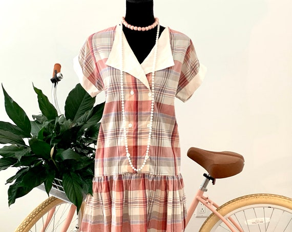 Pink Plaid Casual Weekend Dress, Vintage 80s Pretty in Pink Drop Waist Flapper Style Frock with Sassy Sweetheart Collar