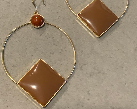 HUGE MCM Golden Hoops with Toffee Caramel & Brick Geometric Cabochons, 4.5 Inches of 70s Disco Funk Glamour Jewelry Bling