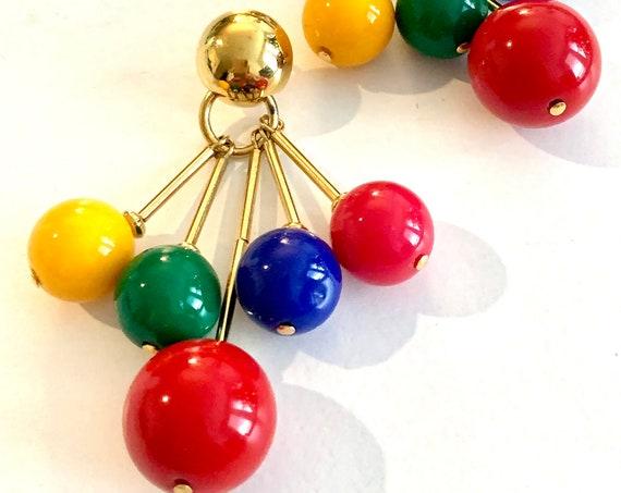 MCM Eames Atomic Dangles, Disco Pop Rainbow Primary Color Block Gum Ball  Statement Earrings- If Herman Miller Made Earrings...