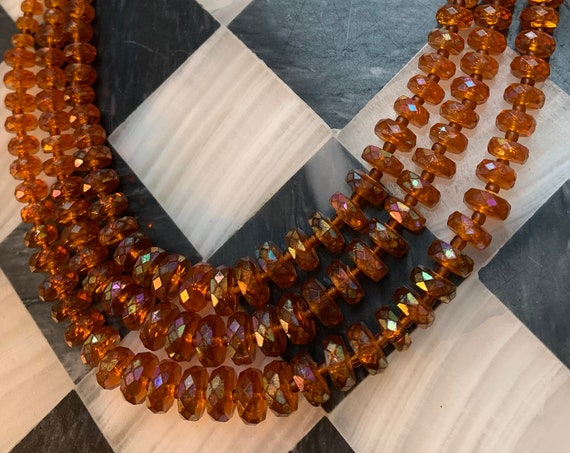 Triple Strand Root Beer Statement Necklace, Vintage Post War Mid Century Lucite Beads Signed West Germany
