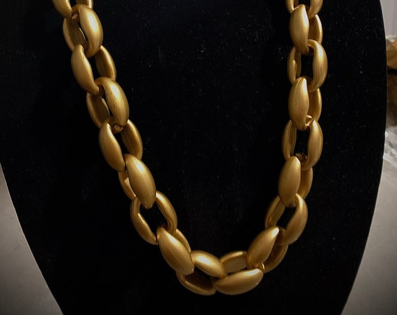 Chunky Chain Statement Necklace, Matte Silver or Gold Acrylic Plastic Big Bold Hip Hop Bling, Vintage 80s 90s Glam Jewelry