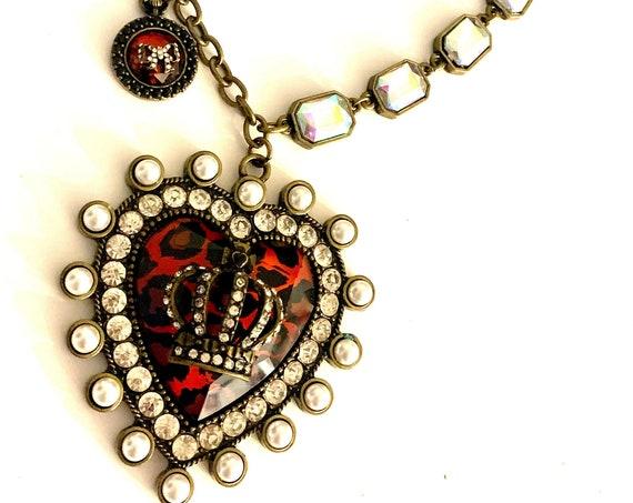 Punky Lucite Heart :Regal Leopard & Red w/ AB Rhinestone Crown and Fleur de Lis 90s Glam material girl Necklace