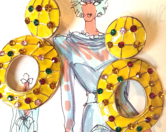 Super Fun & Gaudy Yellow Enamel Hoops with Rainbow Rhinestones,  Big Bold 80s 90s Glamour Jewelry Statement Earrings, NYC Runway Bling