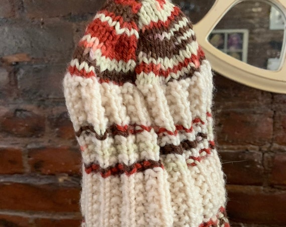 Groovy Vintage Hand Knit Hat, Retro 70s Burnt Orange Striped Winter Ski Hat, unworn