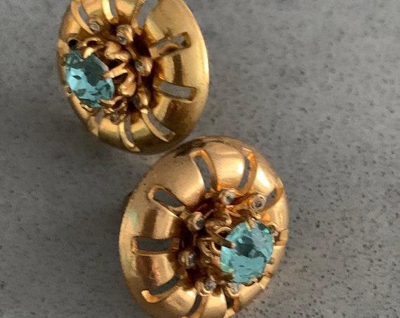 Vintage Aqua Rhinestone Screwbacks, Early Mid Centurn Post Deco Brassy Goldtone Minimalist Floral Sunburst Earrings, Hip and Chic