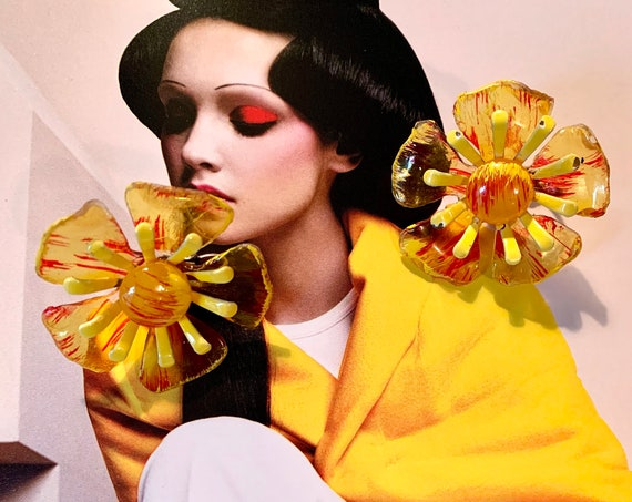 Wonderful Yellow and Orange Vintage Lucite Floral Statement Earrings, On Trend Pretty Vintage Flowers