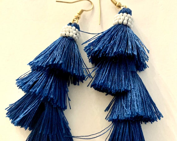Blue Silky Tassel Earrings, Flapper Faux Pearl beaded 3 Tier Fringy Navy Classic Sexy Shoulder Duster Runway Earrings