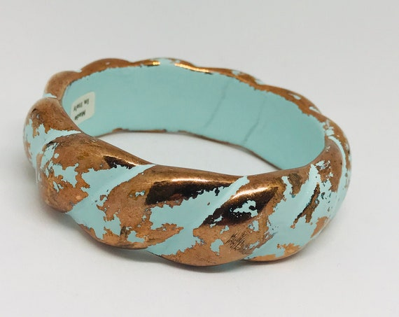 Vintage Italian Distressed Turquoise wash & Coppertone Bangle Bracelet