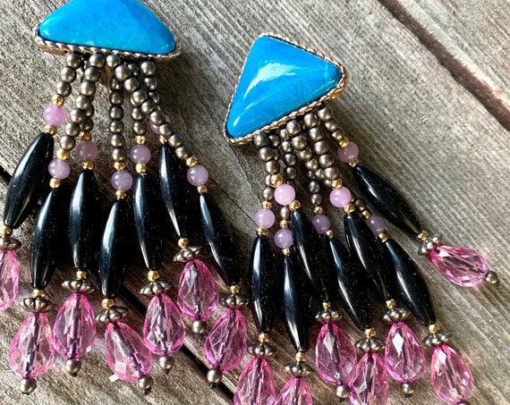 Vintage Southwestern Tassel Statement Earrings, Turquoise  Howlite with Pink  Black & Silver Beaded Glamour Jewelry Clip ons, Sexy Swingy!