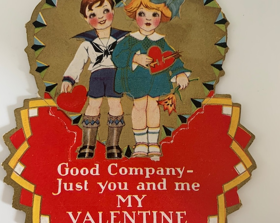 Antique 1930s Valentine, Vintage Valentines Day Card, Holiday Deco, First Love, Just you And me, scrapbook