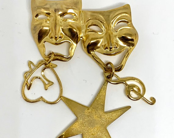 Golden Comedy and Tragedy Masks Unisex Lapel Pin, Dangle Charm Vintage Brooch Gift for Theater Lover or Actor!