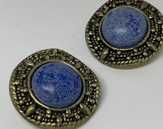 Southwestern Speckled Stone Silver Clip ons, 80s Glam Statement Earrings