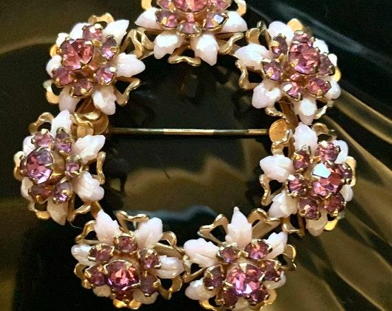 Vintage Pink Rhinestones Floral Pastel & Goltone Springtime Wreath Brooch Pin