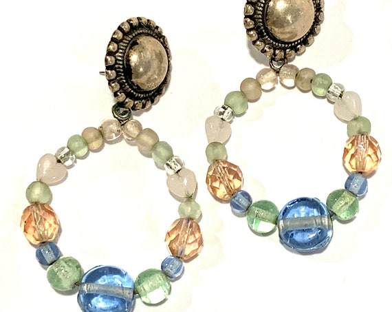 Pastel Rainbow Hoop Dangles, Artisan Boho Glam Glass Beaded Statement Earrings with Hearts