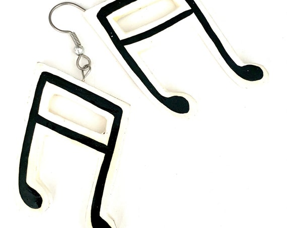 Large Musical Note Dangles, Vintage Artisan Hand painted Black and White Music Note Festive Happy Statement Earrings, Not just any love song